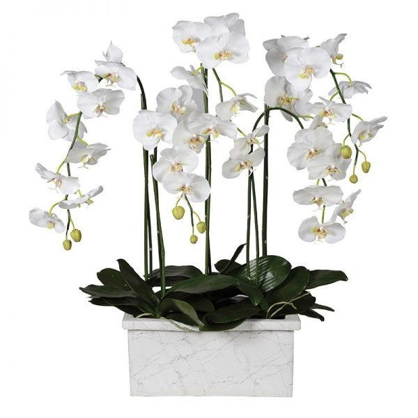 White Faux Orchid in Marble Effect Planter