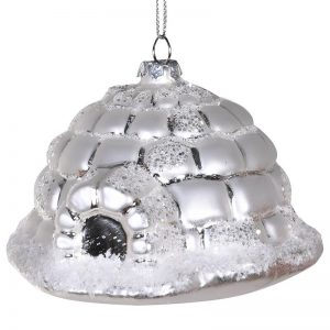Silver Hanging Glass Igloo Decoration