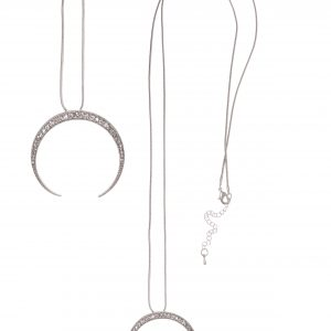Silver Crescent Moon Necklace Set