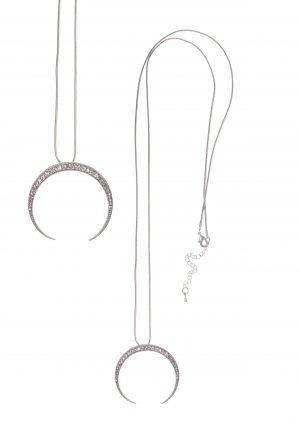 Silver Crescent Moon Necklace Set