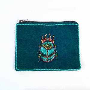 Small Green Velvet Beetle Purse