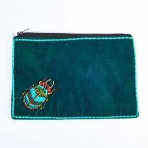 Large Green Velvet Beetle Purse