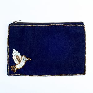 Large Midnight Velvet Bird Purse