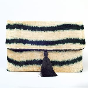 Silk Tassel Black & White Stripe Bag