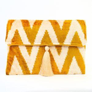 Silk Tassel Yellow & Grey Stripe Bag