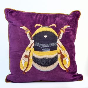 Purple Velvet Bee Cushion