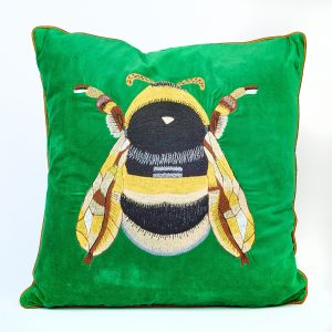 Green Velvet Bee Cushion