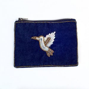 Small Midnight Velvet Bird Purse