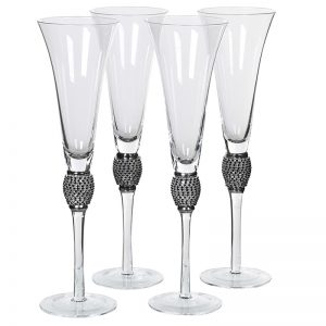 Black Diamante Detail Champagne Flute