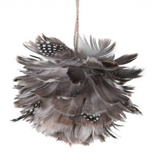 Grey Feather Ball Bauble