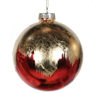 Distressed Gold & Red Bauble