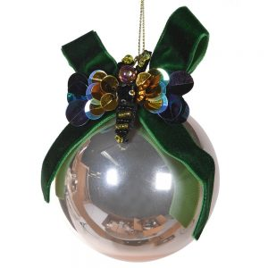 Golden Glass Bauble with Bee