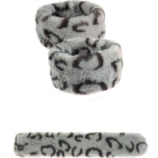 Great Grey Cat Faux Fur Snap Cuffs