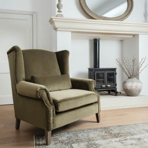 Dark Green Velvet Story Telling Chair