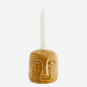 Yellow Stone Candle Holder with Face Imprint