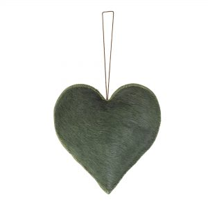 Green Hide Heart Hanging Decoration