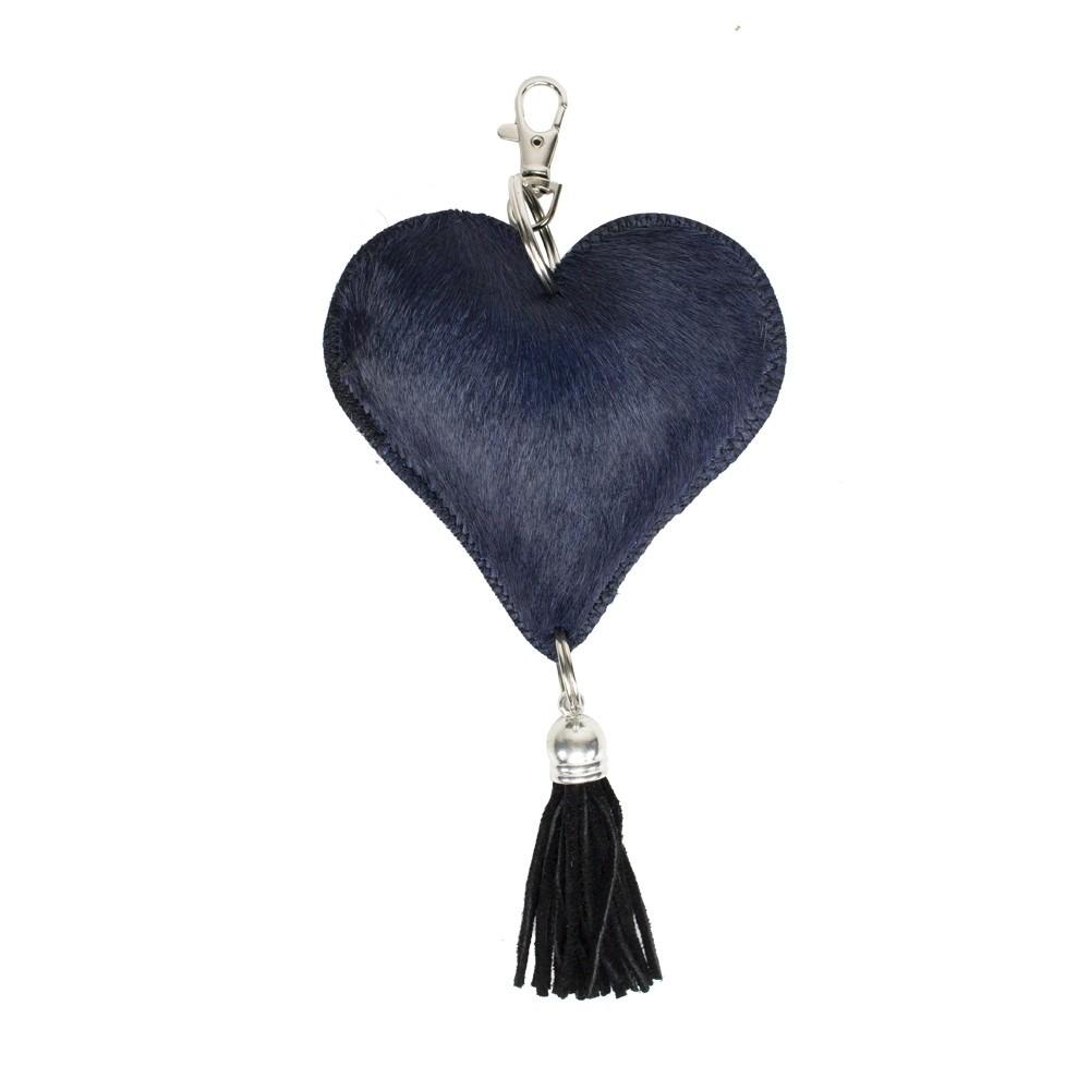 Blue Hide Heart Key Chain