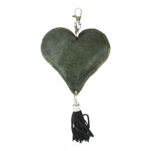 Green Hide Heart Key Chain