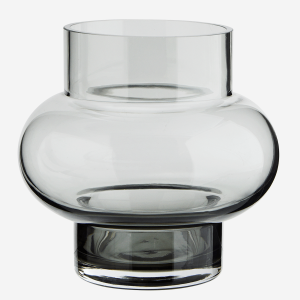 Round Curved Grey Glass Vase