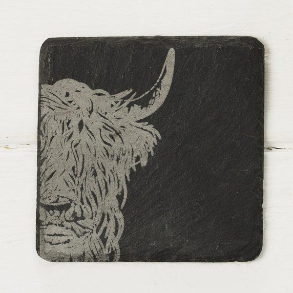 Highland Cow 4 Slate Coaster Set