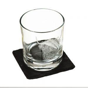 Highland Cow Engraved Glass Tumbler & Slate Coaster Gift Set