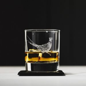 Pheasant Engraved Glass Tumbler & Slate Coaster Gift Set