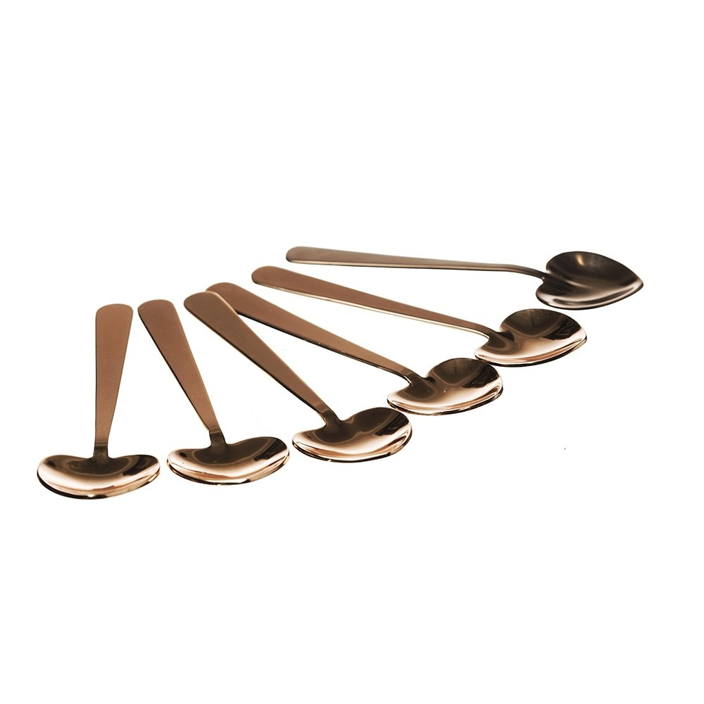 6 Copper Heart Spoons