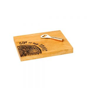 Gin Is My Tonic Cutting Board & Bottle Opener Set