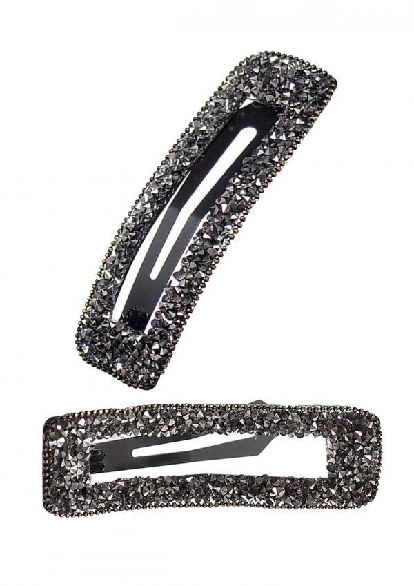 Grey Framed Rectangular Sparkling Hair Clip