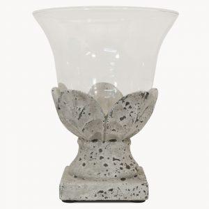 Stone Leaf Hurricane Lamp