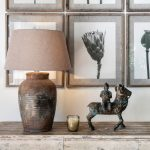Rustic Table Lamp with Gravel Shade