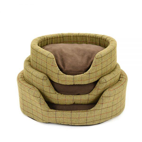 Green Tweed Dog Bed