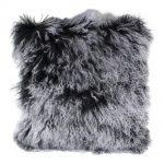 Dark Grey Curly Sheepskin Cushion
