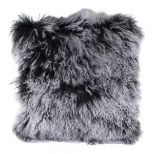 Dark Grey Curly Sheepskin Cushion