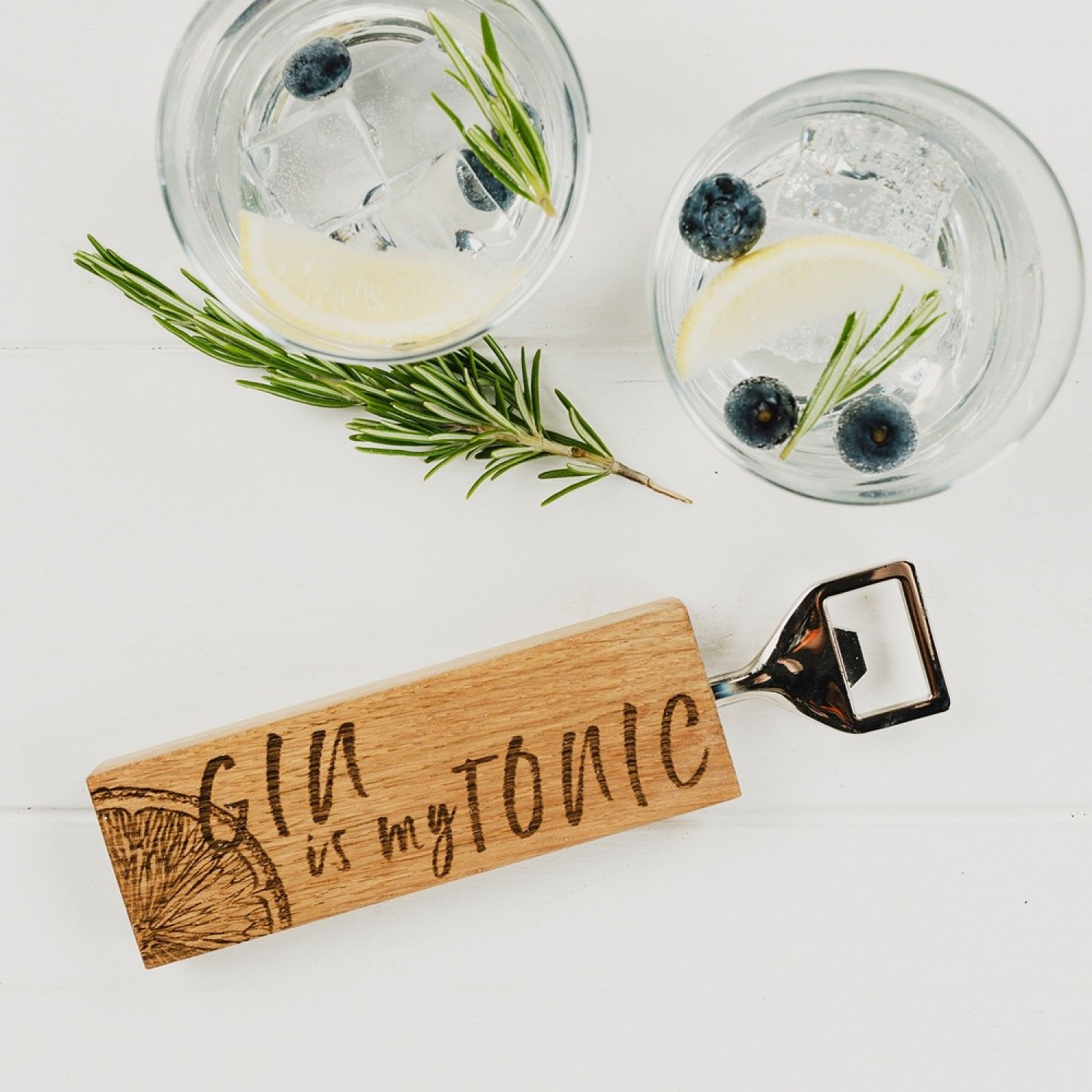 Gin is my Tonic Oak Bottle Opener