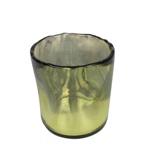 Hand Blown Olive Glass Candle Holder