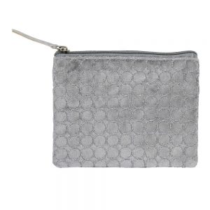 Light Grey Circles Velvet Make Up Bag