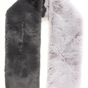Charcoal & Light Grey Two Tone Faux Fur Long Scarf