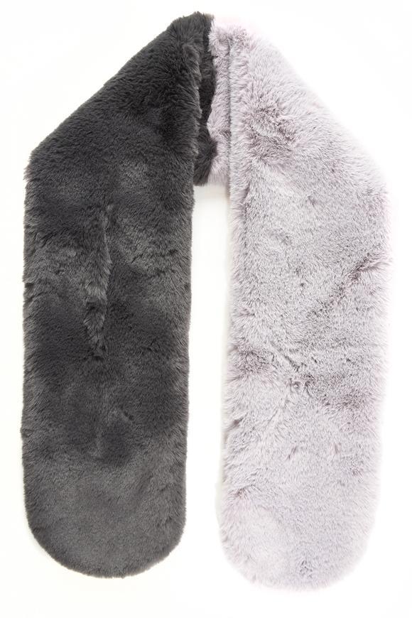 Charcoal & Light Grey Two Tone Faux Fur Long Scarf