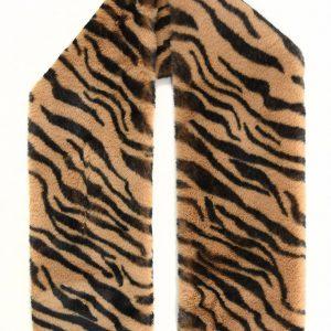 Tiger Print Faux Fur Long Collar