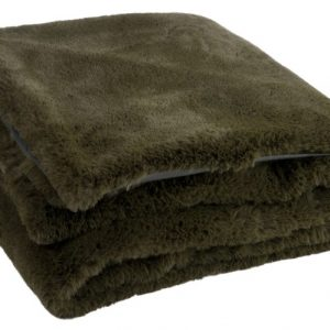 Olive Faux Fur Throw