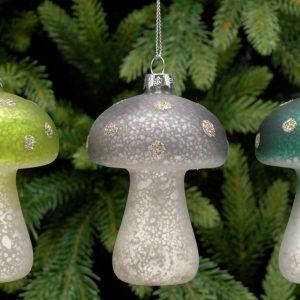 Silver Mushroom Christmas Hanging Decoration