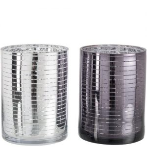 Tea Light Holder Stripe Glass Set of 2