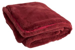 Red Faux Fur Throw