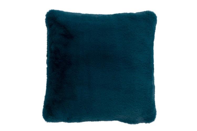 Petrol Blue Faux Fur Cushion