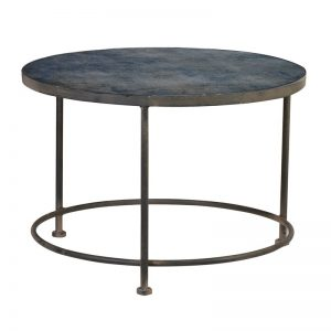 Prussian Blue Pattern Glass Top Coffee Table