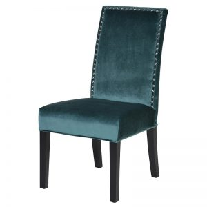 Studded Teal Velvet Dining Chair