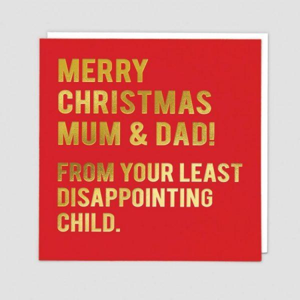 Greetings Card Xmas Parents