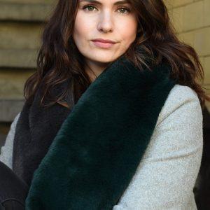 Dark Green & Grey Long Faux Fur Collar