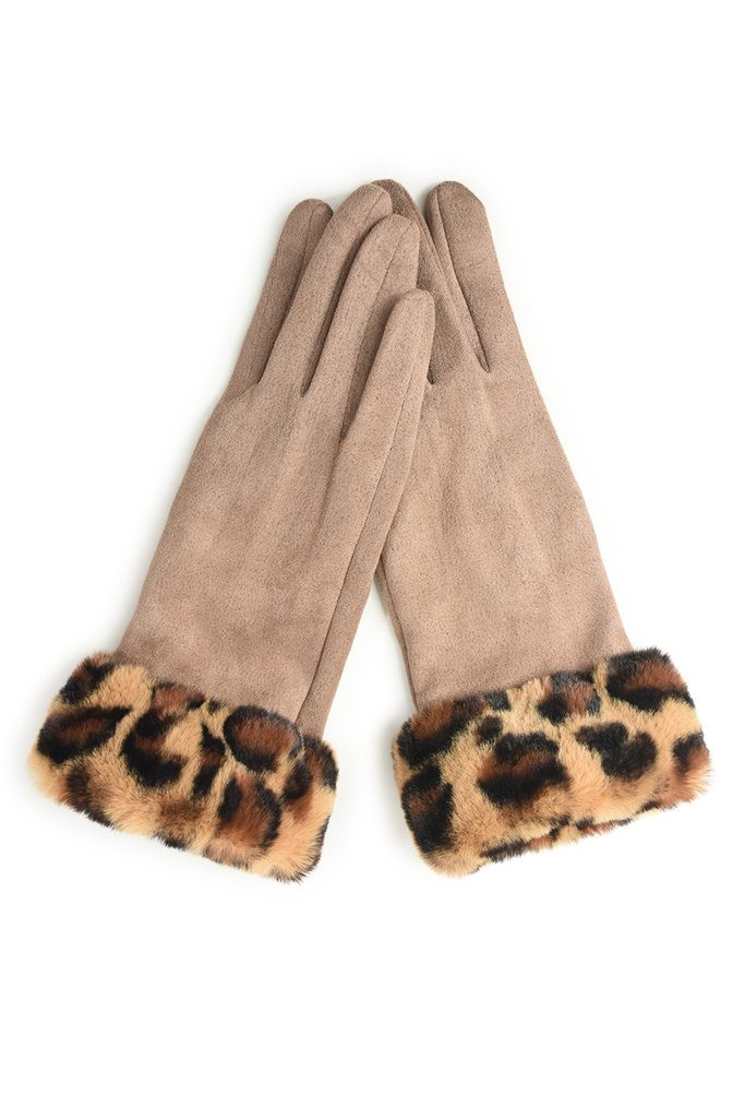 Beige Suede Effect Gloves with Leopard Print Faux Fur